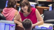 Maria Augimeri was one of the councillors who wore pink at the Aug. 25, 2014, council meeting to protest against Rob Ford's performance as mayor. (Chris Young For The Globe and Mail)