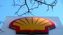 The Shell logo at a petrol station in London. Shell has abandoned the first of its deepwater exploration wells off Nova Scotia, saying it didn't find enough oil for commercial production.