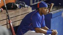 In this Aug. 5, 2016, file photo, New York Mets center fielder Yoenis Cespedes sits in the dugout before batting practice at a baseball game against the Miami Marlins in Miami. (Joe Skipper/AP)
