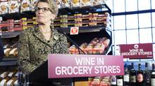 Ontario Premier Kathleen Wynne talks of wine sales at grocery stores at a Toronto supermarket on Thursday, Feb. 18, 2016. Recreational marijuana sales should fall under the purview of government, she said on Wednesday, Feb. 24. (Michelle Siu/THE CANADIAN PRESS)
