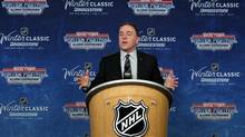 Tom Anselmi, Toronto Maple Leafs Executive Vice President and COO speaks at a news conference announcing the NHL Winter Classic hockey game at Comerica Park in Detroit, Thursday, Feb. 9, 2012. The Toronto Maple Leafs will play the Detroit Red Wings at Michigan Stadium in Ann Arbor, Mich., on Jan. 1, 2013. (PAUL SANCYA/AP)