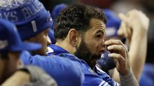Toronto Blue Jays' Jose Bautista watches during the ninth inning in Game 1 of the baseball team's American League Championship Series against the Cleveland Indians in Cleveland, Friday, Oct. 14, 2016. (Matt Slocum/AP)