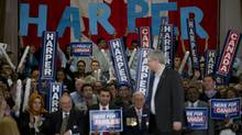 Prime Minister Stephen Harper delivers a speech during a campaign rally in Ajax, Ont. (Sean Kilpatrick)