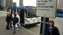 York Region Transit buses outside the Finch subway station on April 24, 2006. (Fred Lum/The Globe and Mail/Fred Lum/The Globe and Mail)