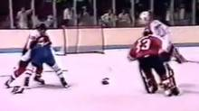 YouTube screengrab of the 1987 pre-game brawl between the Philadelphia Flyers and the Montreal Canadiens. (Screengrab/Screengrab)