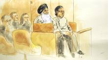 67-year-old Surjit Badesha and 63-year-old Malkit Sidhu are seen in this artist impression at B.C. Supreme Court. (Sheila Allan)