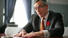Industry Tony Clement gives an interview at his Parliament Hill office on Nov. 5, 2010. (DAVE CHAN/Dave Chan for The Globe and Mail)