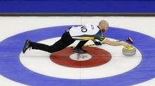Northern Ontario skip Brad Jacobs lines up his rock during a match against Prince Edward Island at the 2016 Brier curling championship in Ottawa on March 8. (CHRIS WATTIE/REUTERS)