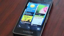 The new Blackberry 10 prototype is seen during a media event in Toronto, June 21, 2012. (CP)