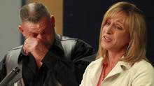 Mike and Rachael Szendrei, parents of Laura Szendrei who was murdered in Mackie Park in Delta September 25, 2010, talk during a press conference in Delta, October 13, 2010. (Jeff Vinnick/Jeff Vinnick/The Globe and Mail)