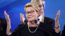 PQ leader Pauline Marois takes the stage after her party was defeated in the provincial election Monday April 7, 2014 in Montreal. Marois lost her seat in Charlevoix-Cote-de-Beaupre to Liberal candidate Caroline Simard. (Paul Chiasson/THE CANADIAN PRESS)