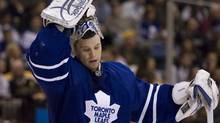 Toronto Maple Leafs goaltender Justin Pogge reacts after letting in a goal to the Boston Bruins in Toronto on March 28. (CHRIS YOUNG)