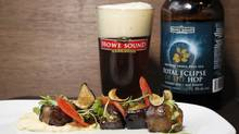 Sweet and Sour eggplant is paired with Howe Sound Total Eclipse of the Hop at Ensemble Tap in Vancouver. (Laura Leyshon/Laura Leyshon for The Globe and Mail)