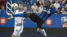 Montreal Impact defender Hassoun Camara joked that the team had to head to the gym to avoid being overpowered by Toronto FC's Jozy Altidore, but they knows the big striker's physical play, plus Sebastian Giovinco's elusiveness, are things they will have to watch for. (Paul Chiasson/THE CANADIAN PRESS)