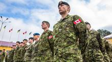 Officers of the Royal Canadian Regiment's 1st Batallion in Yavoriv Inernational Peacekeeping and Security Center. (Anton Skyba for The Globe and Mail)