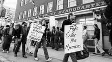 People protest charges laid as a result of police raids on bathhouses on May 3, 1981. (Edward Regan/The Globe and Mail)
