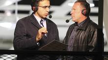 play-by-play announcer for the Nippissing University team, Ranjan Rupal (left) and colleague Greg Theberge (right) during a game. (Handout)