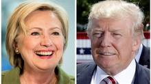 Democratic presidential candidate Hillary Clinton and Republican presidential candidate Donald Trump. (Associated Press)