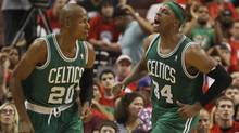 Boston Celtics' Paul Pierce (34) reacts after scoring next to teammate Ray Allen (20) while playing against the Philadelphia 76ers' during Game 3 of their NBA Eastern Conference semi-final playoff game in Philadelphia, Pennsylvania, May 16, 2012. (Tim Shaffer/Reuters/Tim Shaffer/Reuters)