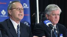 MLSE President and CEO Richard Peddie, left, and Brian Burke attend a press conference announcing Burke as the team's new general manager. (Brad White/2008 Getty Images)