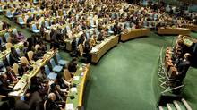 Ballot boxes sit in front of members of the United Nations before a vote on the election of the five non-permanent members of the Security Council on Oct. 12, 2010, in New York. (DON EMMERT/AFP/Getty Images)