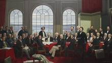 """The original Fathers of Confederation painting by Robert Harris was commissioned in 1883. It illustrated two meetings held in 1864 (the Charlottetown Conference and the Quebec Conference) which formed the basis for Confederation in 1867. This painting featured 33 """"Fathers"""" and the secretary, Hewitt Bernard. It was destroyed by fire in 1916 when the Parliament Buildings burned (only a black and white photographic copy now exists). In 1964, the Confederation Life Assurance Co. hired Canadian artist Rex Woods to reproduce the painting as a gift to the nation to mark the Centenary of Confederation which was in 1967. The new painting was not an exact replica of Harris's original. Three additional figures were added to the painting, along with a portrait of Robert Harris as a tribute to the earlier work. (Dave Chan For The Globe and Mail)"""