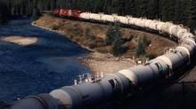 A CP petrochemical train heads west through the Rocky Mountains (CP Rail)