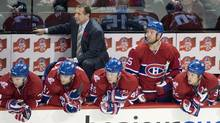 Montreal Canadiens head coach Jacques Martin and his players look on during the final minutes of their game with the Atlanta Thrashers on Tuesday night. (Graham Hughes/Graham Hughes/CP)