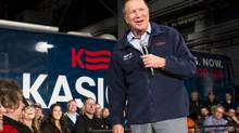 U.S. Republican presidential candidate and Ohio Governor John Kasich speaks to supporters at a town-hall meeting in Youngstown, Ohio, on Monday. (Angelo Merendino/Getty Images)