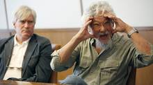 David Suzuki speaks to The Globe and Mail's editorial board as Peter Robinson, CEO of the David Suzuki Foundation, looks on in Toronto on April 12, 2012. (Deborah Baic/Deborah Baic/The Globe and Mail)