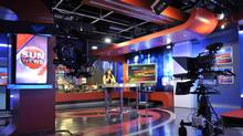 The television news studio at Sun News in Toronto, August 8, 2013. (J.P. MOCZULSKI For The Globe and Mail)