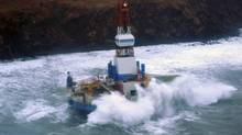 A handout photo of the Kulluk aground southeast of Sitkalidak Island, Alaska, Jan. 1, 2013. The grounding was only the latest of problems Shell has run into seeking to drill north of Alaska. (PETTY OFFICER 3RD CLASS JONATHAN/NYT)