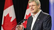 Prime Minister Stephen Harper speaks during a news conference in Edmonton on Oct. 8, 2010. (JASON FRANSON/THE CANADIAN PRESS)