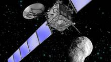 Artist's impression of Rosetta as it flies by asteroid Steins. (ESA, image by C.Carreau)