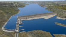A rendering of the Site C dam on the Peace River in B.C. A report from Amnesty International says the project infringes on the human rights of indigenous people.