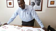 Jacob Deng's plans for a community centre in South Sudan include a school, dormitory, health care facility, two wells and a place where villagers can make school uniforms. (PAUL DARROW FOR THE GLOBE AND MAIL)