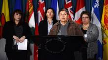 Sharon McIvor of the Feminist Alliance For International Action speaks during a press conference on Parliament Hill in Ottawa on Feb. 13, 2013. (Sean Kilpatrick/THE CANADIAN PRESS)