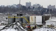 With the skyline of Youngstown, Ohio in the distance, a brine injection well owned by Northstar Disposal Services LLC is seen in Youngstown on Jan. 4, 2011. The company has halted operations at the well, which disposes of brine used in gas and oil drilling, after a series of small earthquakes hit the Youngstown area. Environmentalists and lawmakers opposed to the technique known as fracking are seizing on this series of small earthquakes as a signal to proceed with caution. (AP)
