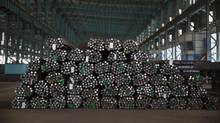 Steel rods are seen at the Zhong Tian (Zenith) Steel Group Corporation on May 12, 2016 in Changzhou, Jiangsu. (Kevin Frayer/Getty Images)