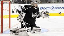 Jonathan Quick of the Los Angeles Kings makes a save during the first period in the game against the Dallas Stars at Staples Center on October 22, 2011 in Los Angeles. (Harry How/2011 Getty Images)
