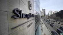 Third floor view of the Shangri-La Hotel signage that faces University Avenue, Toronto. (Fred Lum/The Globe and Mail)