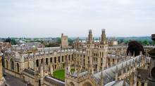 View over the historic University of Oxford in England. The Rhodes Scholarship, which was founded through a bequest in the will of businessman and diamond magnate Cecil Rhodes 112 years ago, pays for two years of graduate school and living costs at Oxford University. (Thinkstock)