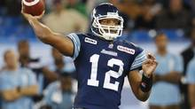 Toronto Argonauts quarterback Jarious Jackson throws a pass against the Saskatchewan Roughriders during the second half of their CFL in Toronto, October 8, 2012. (MARK BLINCH/REUTERS)