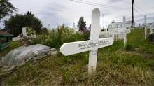 The Fort McPherson gravesite where Eddie Snowshoe lies buried. (Fred Lum/The Globe and Mail)