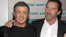 Sylvester Stallone and former California Gov. Arnold Schwarzenegger attend the premiere of Escape Plan in New York October 15, 2013. (ANDREW KELLY/REUTERS)