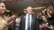 Rob Ford stops into his Etobicoke campaign office to thank his campaign team and volunteers on Oct. 24, 2010. (Jennifer Roberts for The Globe and Mail)