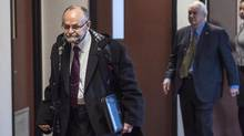 Toronto pastor Brent Hawkes, left, walks with his lawyer Clayton Ruby before his trial in Kentville, N.S., on Nov. 14, 2016. (Darren Calabrese/THE CANADIAN PRESS)