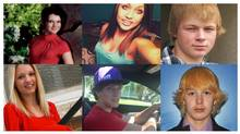 Clockwise from top left: Aimie Candace Elizabeth Hurley, 14, Naomi Salas-Schafer, 13, Jayden Boettcher, 16, Mackenzie Moen, 14, Tarren Attfield, 15, and  Kristopher Tavener, 17 are the six teenagers who were killed in a collision with a semi truck on a rural road south of Lloydminster, Sask. during the night on Friday July 26, 2013. (Handout)