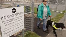 Helen McFadyen leaves the new Service Dog park with her guide dog Opal in Halifax, Nova Scotia, Aug. 29, 2009. (PAUL DARROW/GLOBE AND MAIL)