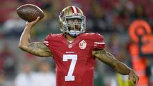 Quarterback Colin Kaepernick of the San Francisco 49ers throws a pass against the Green Bay Packers, August 26, 2016 in Santa Clara, California. (Thearon W. Henderson/Getty Images)